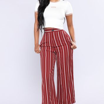 Carlibela Stripe Pants - Burgundy