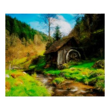 Retro Old Mill In Mountain Valley On Small River Poster
