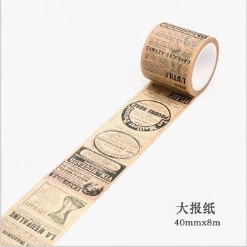 40mm wide Retro yellowed old newspaper gothic Travel decoration scotch washi tape DIY diary planner scrapbook masking tape