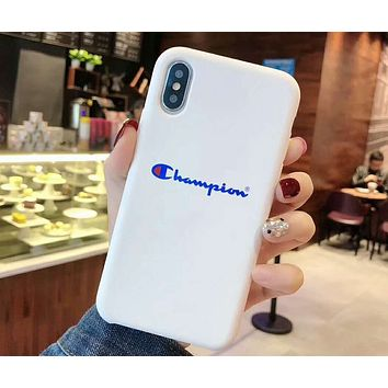 Champion tide brand couple iphonexs mobile phone case cover white
