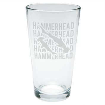 LMFCY8 Hammerhead Shark Stack Repeat Etched Pint Glass
