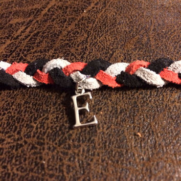 Custom Braided Leather Essential Oil Diffuser Bracelet in Red, Gray and Black with Initial~Men's Diffuser~Women's Diffuser
