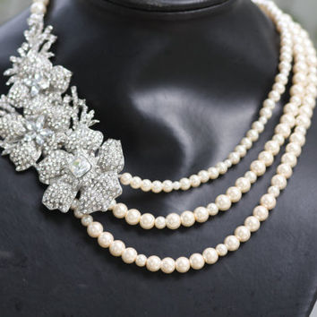 Fresh Bloom Swarovski crstal and pearl  triple strand bridal necklace