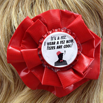 Doctor Who Fezes Are Cool Duct Tape Hair Clip by PyrateWench