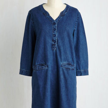Eco-Friendly Mid-length 3 Shift Bushel of Blueberries Dress