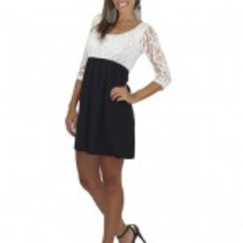 Black Short Dress With Lace Top