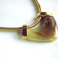 Trifari Gold and Faux Stone Vintage Necklace, Heavy Thick Gold Serpentine Herringbone Short Chain Necklace