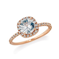 White Sapphire Halo Engagement Ring, Rose Gold Halo Sapphire Engagement Ring, Promise Ring 00072