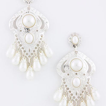 Silver Etched Dangle Pearl Earrings