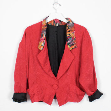 Vintage 80s Jacket Red Brocade Tropical Floral Print Crop Jacket Light Tuxedo Jacket New Wave 1980s Jacket Boyfriend Blazer Hipster M Medium