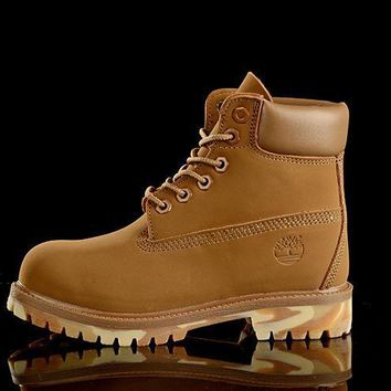 PEAPON Timberland Rhubarb Boots Yellow CamouflageWaterproof Martin Boots