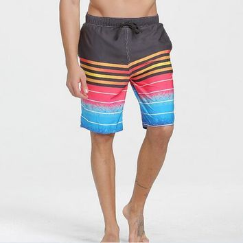 Men's Quick Dry Classical Colorful Striped Print Swim Trunk Beach Board Shorts Plus Size Free Shipping