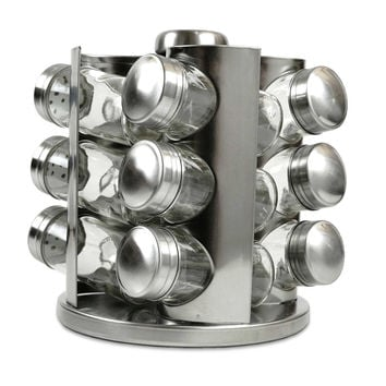 Rotating Stainless Steel Spice Rack with Glass Jars