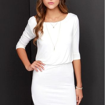 Plain V Back Sleeve Dress