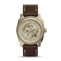 Machine Chronograph Leather Watch, Brown