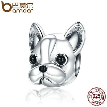 BAMOER 925 Sterling Silver Loyal Partners French BULLDOG Doggy Animal Beads fit Women Charm Bracelets & Bangles Jewelry SCC315