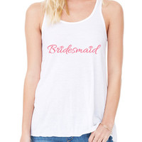 Bridesmaid Party Bachelorette Party Bella Flowy Tank Top Wedding Shirt Bride Birdesmaid Entourage White Tank with Pink B-251