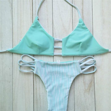 Elle Reversible Printed Cut Out Turquoise Brazilian Cheeky Halter Bikini 2 Piece Set