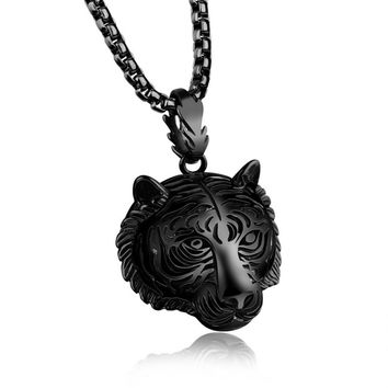 Stainless Steel 60CM Men Pendant Necklace Of Animal Tiger Exterior Necklace BK