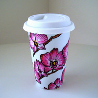 Ceramic Travel Mugs Pink Orchids Tropical Painted by sewZinski