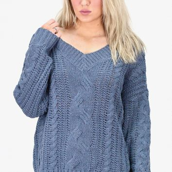 Slouchy, Chunky Knit V-Neck Sweater {Smokey Blue}