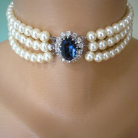 Sapphire Bridal Choker, Wedding Necklace, Great Gatsby Jewelry, Pearl Wedding Jewellery, Pearl Necklace, Pearl Choker, Bridal Choker, Deco