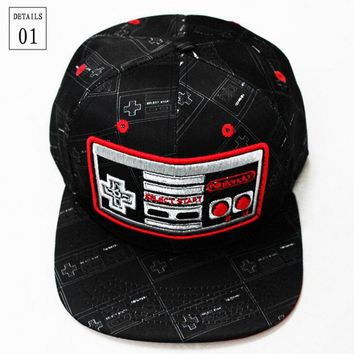 Classic style Nintendo Cosplay Cap black gamepad Novelty  unisex dress 3D embroidery Hat charms Props Summer Baseball cap