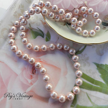 Vintage Pastel Pink Pearl Necklace, Pink Faux Pearl Bead Necklace, Bridal Jewelry