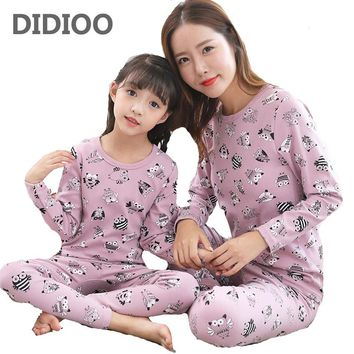 Family Pajamas Sets For Girls Women Sleep Clothing Suits Cartoon Owls Home Nightwear Spring Autumn Mother Daughter Outfits 2-12Y