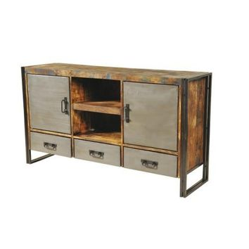 Abran Industrial Reclaimed Wood & Metal 3 Drawers 2 Door Sideboard/Buffet