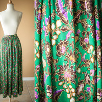 Vintage Maxi Skirt | Faux Wrap Skirt High Waisted Skirt 70s skirt Psychedelic Floral Print Pleated Skirt Full Skirt Fall Fashion Maxi Dress