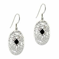 Sterling Silver Onyx Stone Filigree Oval Dangle Earrings