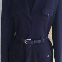 Jones New York dress vintage womens long dark navy blue long sleeves size 6 long sleeves classic belt belted button front