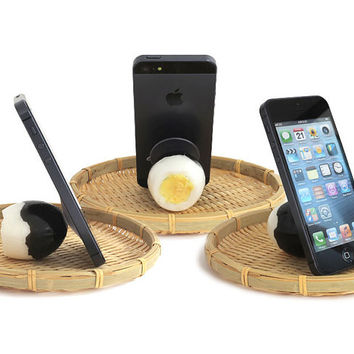 Delicious Black Egg Yummy Life Like Actual Size Realistic Food Inspired Unique Cell Phone Mobile Accessory Stand Holder 54-800010