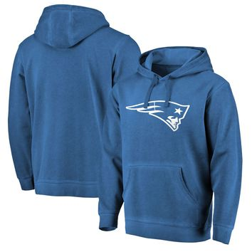 Best Deal Online Men's New England Patriots NFL Pro Line by Fanatics Branded Navy White Logo Shadow Washed Pullover Hoodie