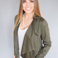 Faux Suede Zipper Jacket Olive
