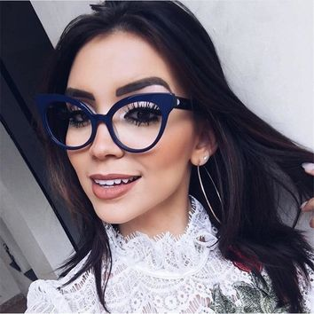 HUITUO European and American Fashion Cat Eye Retro Spectacles Frame for Women Optical Eyeglasses Nerd High Quality Flat Mirror