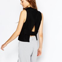House of Sunny Ribbed Crop Top with Open Back