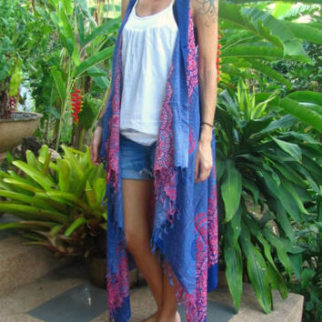 Long Waistcoat Beach Cover Up Kaftan Beachwear Sarong Boho Hippie Summer Tunic | eBay
