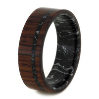10% Off Mens Wood Ring With Black And Silver Mokume Gane Sleeve, Mens Wedding Band With Honduran Rosewood
