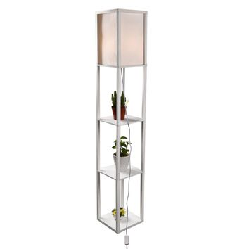 ELECWISH Shelf Floor Lamp with Linen Shade, UL Listed, Wooden Frame, 63 Inch Height, Switch on/off, Etagere Organizer Shelf, Whi