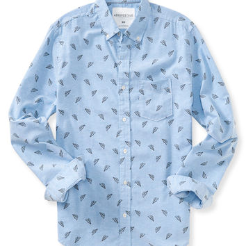 Aeropostale Mens Long Sleeve Paper Planes Woven Shirt - Blue,