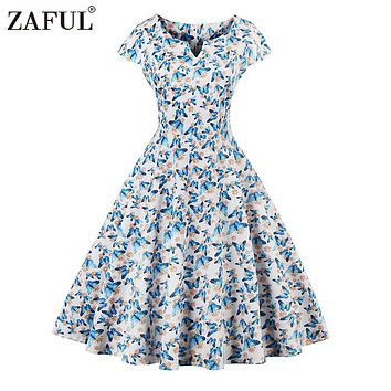ZAFUL 2017 Vintage Butterfly Print Summer Dress Women Robe Rockabilly Feminino Vestidos Hepburn 50s 60s retro dresses Plus Size