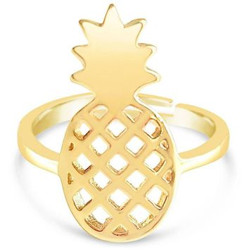 Pineapple Ring With Adjustable Size - Fruit Inspired Fashion Rings