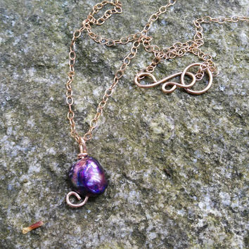 Purple Pearl Pendant Necklace, Irregular Pearl Necklace, Bronze Chain Necklace