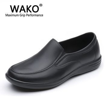 WAKO 9023 Male Cook Shoes Black Kitchen Chef Sandals with Holes on Side Slip on Casual Hotel Restaurant Shoes Non-skid 39-44#