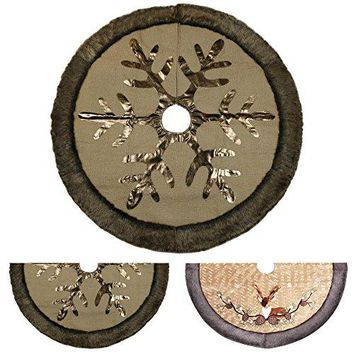 "48"" Woodland Collection Burlap Christmas Tree Skirt with Faux Fur Trim Border"