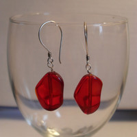 Sterling Silver and Red Glass Hearts Valentine Earrings