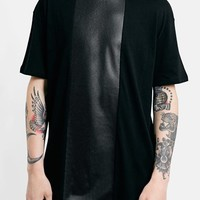 Topman Faux Leather Panel Oversized T-Shirt