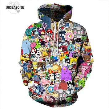 2017 All Over Printed Adventure Time Hoodie Cartoon Character Graphic Tracksuit Men Women Funny Casual Tops Sudadera Pullovers